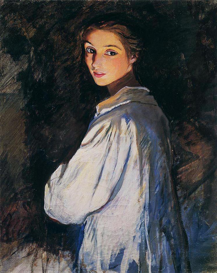 "Зинаида Серебрякова (Zinaida Serebriakova), ""Девушка со свечой. Автопортрет"""
