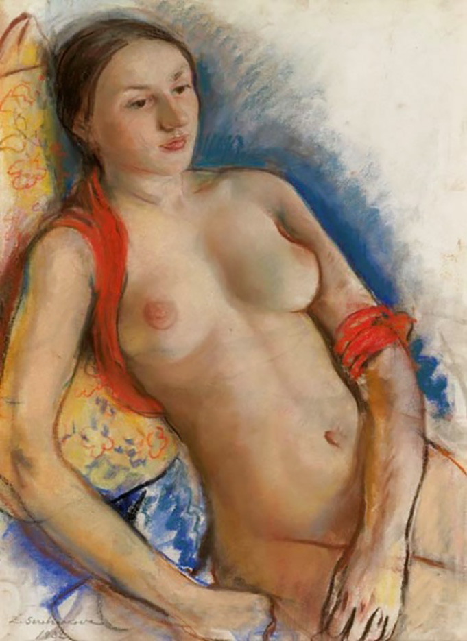 "Зинаида Серебрякова (Zinaida Serebriakova), ""Обнажённая с красным шарфом"""