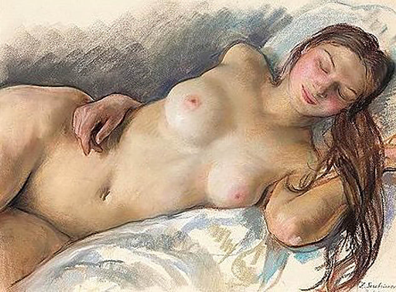 """Зинаида Серебрякова (Zinaida Serebriakova), """"Спящая обнажённая - 3"""""""