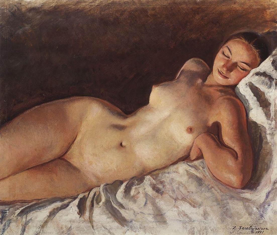 """Зинаида Серебрякова (Zinaida Serebriakova), """"Спящая натурщица"""""""