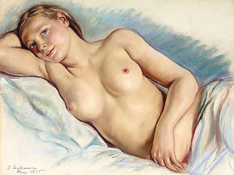 "Зинаида Серебрякова (Zinaida Serebriakova), ""Лежащая обнажённая - 4"""