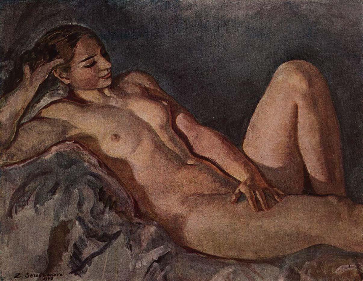 "Зинаида Серебрякова (Zinaida Serebriakova), ""Натурщица, опирающаяся на локоть"""