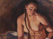"""Зинаида Серебрякова (Zinaida Serebriakova), """"Обнажённая с книгой"""""""