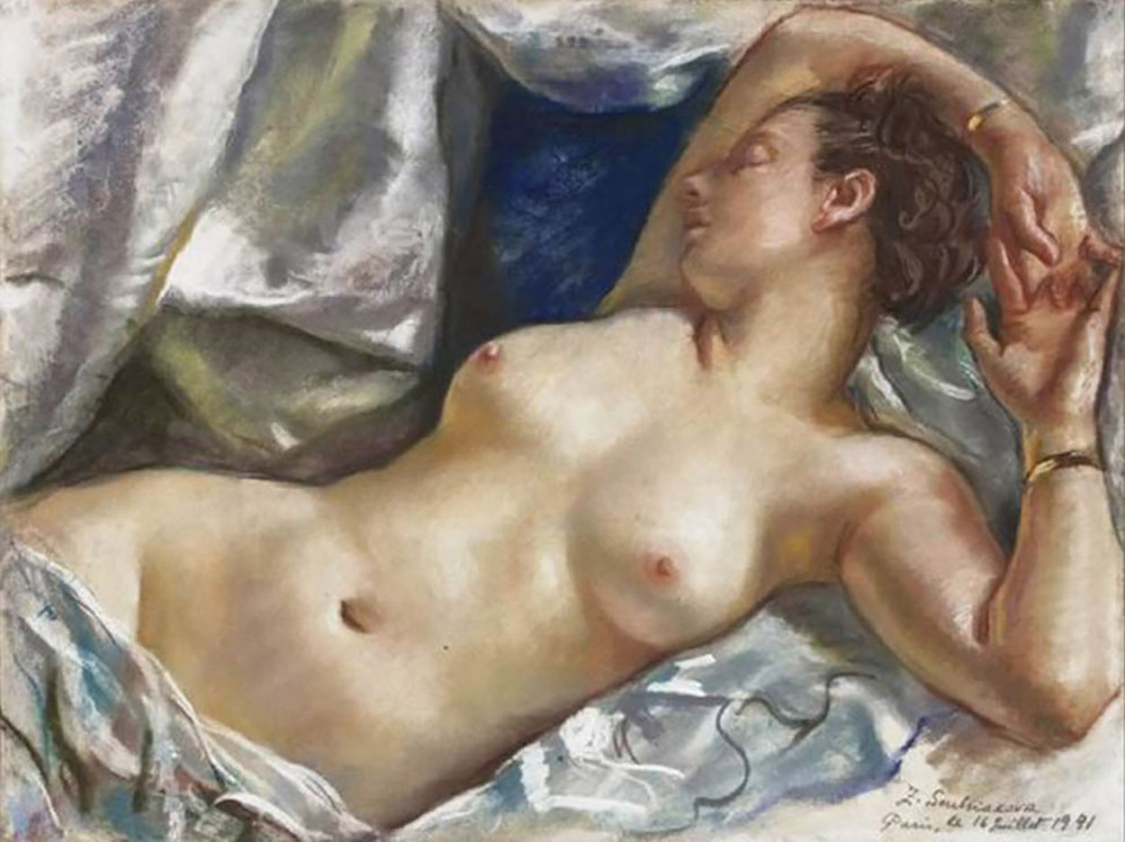 """Зинаида Серебрякова (Zinaida Serebriakova), """"Обнажённая натурщица"""""""