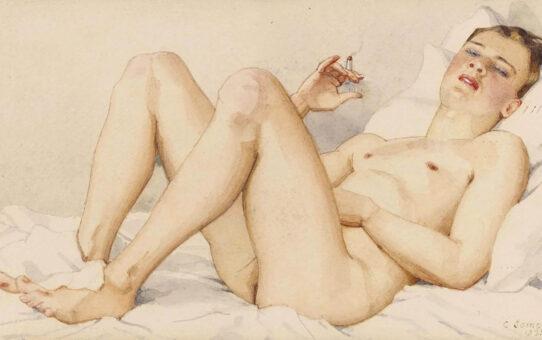 "Константин Андреевич Сомов (Konstantin Somov) ""Обнаженный мужчина с сигаретой | Naked man with a cigarette"""