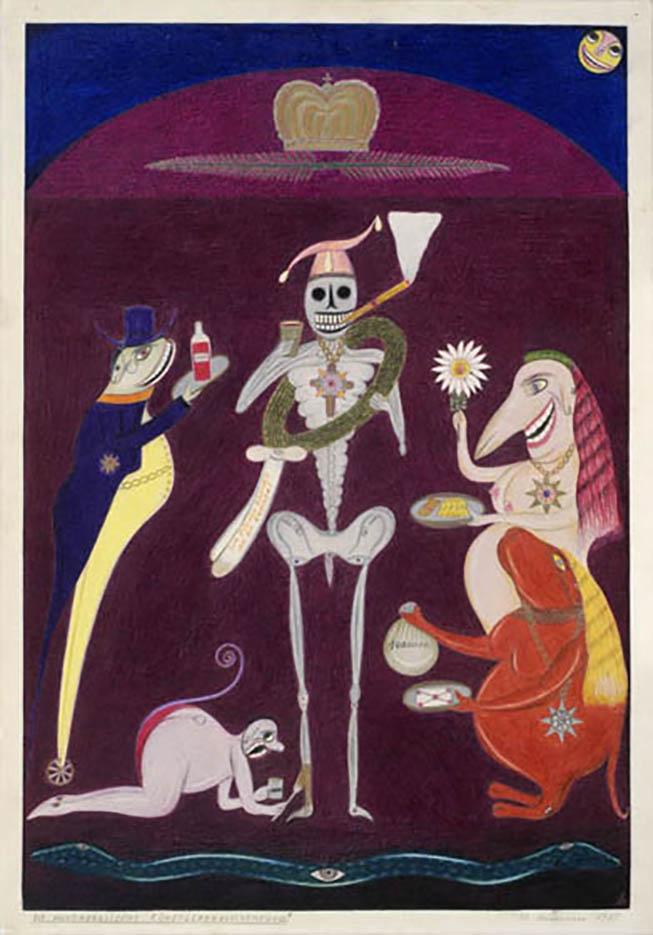 "Фридрих Шрёдер-Зонненштерн (Friedrich Schröder Sonnenstern) ""The Moon-Moralistic Veneration of the Artist's Bones"""