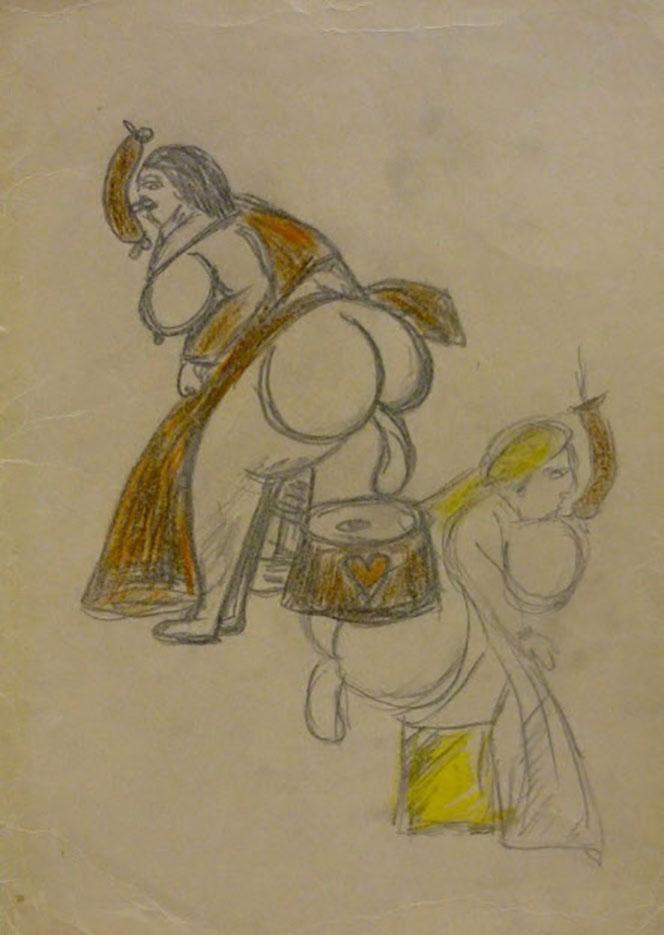 "Фридрих Шрёдер-Зонненштерн (Friedrich Schröder Sonnenstern) ""Pencil and color-pencil on paper"""