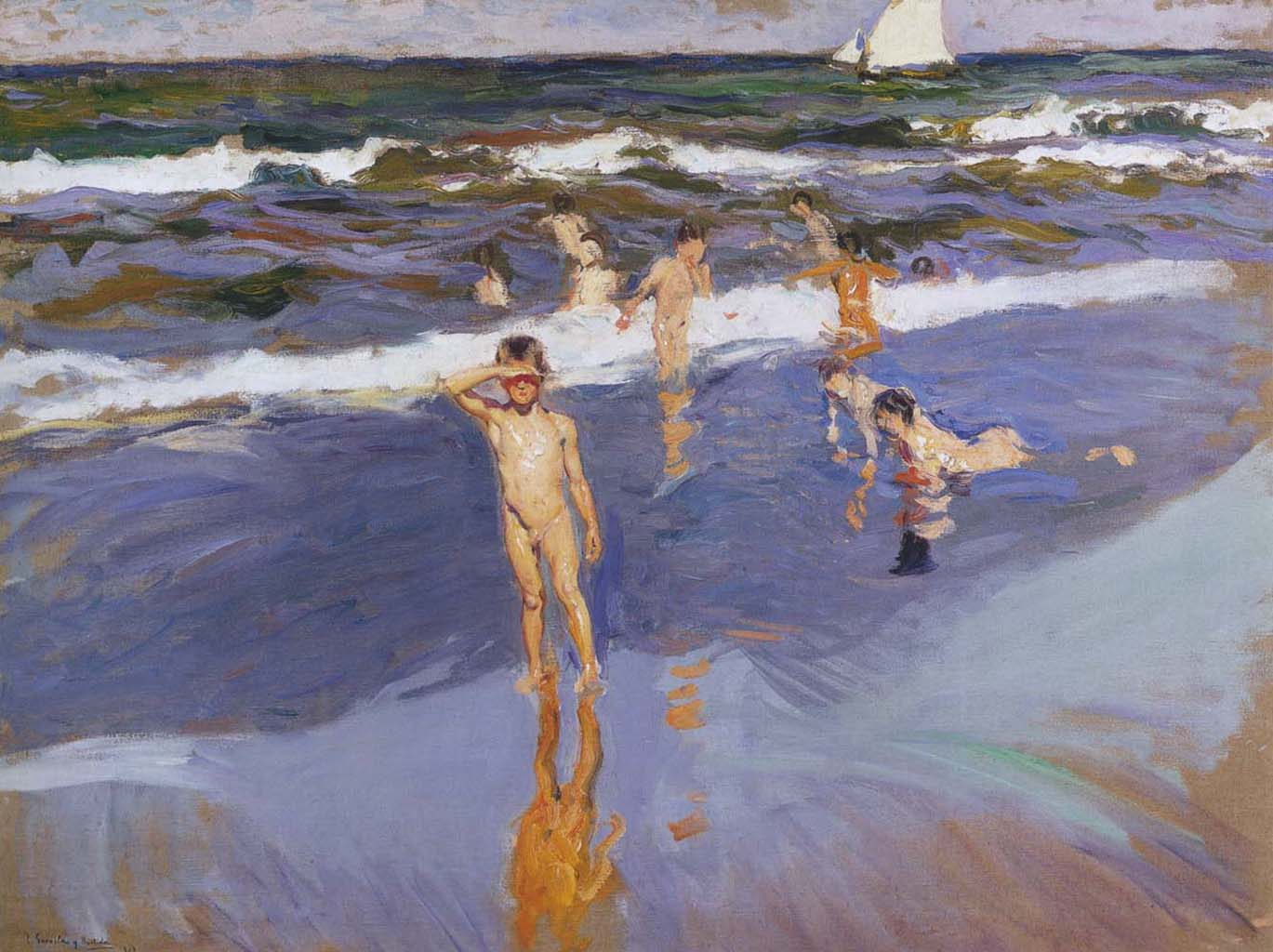 "Хоакин Соролья (Joaquin Sorolla) ""Children in the Sea, Valencia Beach"""