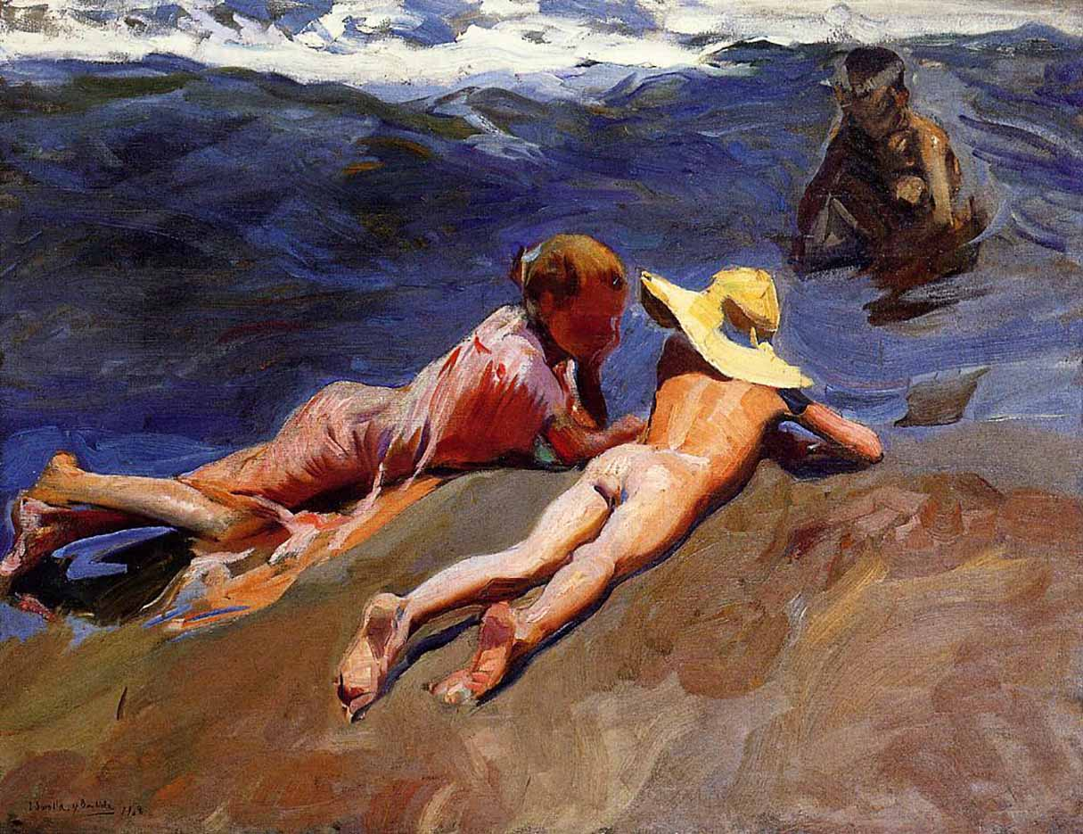 "Хоакин Соролья (Joaquin Sorolla) ""On the Sand, Valencia Beach"""