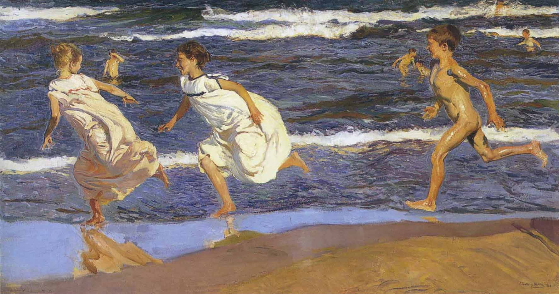 "Хоакин Соролья (Joaquin Sorolla) ""Running along the beach"""