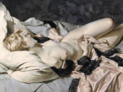 "Лев Чистовский (Lev Tchistovsky) ""Nude, lying with a pink dress"""