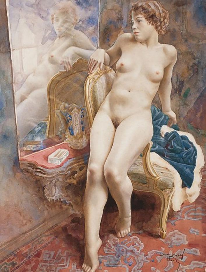 "Лев Чистовский (Lev Tchistovsky) ""Обнажённая возле зеркала | Nude near a mirror"""