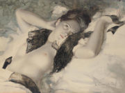 "Лев Чистовский (Lev Tchistovsky) ""Nude with a black lace scarf"""