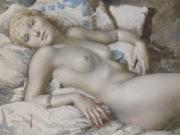 "Лев Чистовский (Lev Tchistovsky) ""Nude blonde woman lying on the bed"""