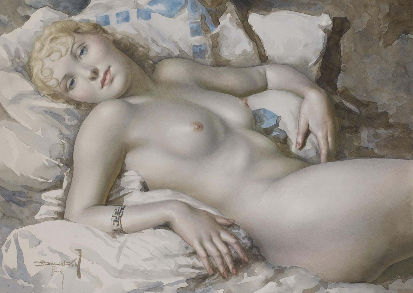 "Лев Чистовский (Lev Tchistovsky) ""Nude blonde woman lying on the bed"""