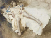 "Лев Чистовский (Lev Tchistovsky) ""A reclining model in a cream dress with blue trim"""