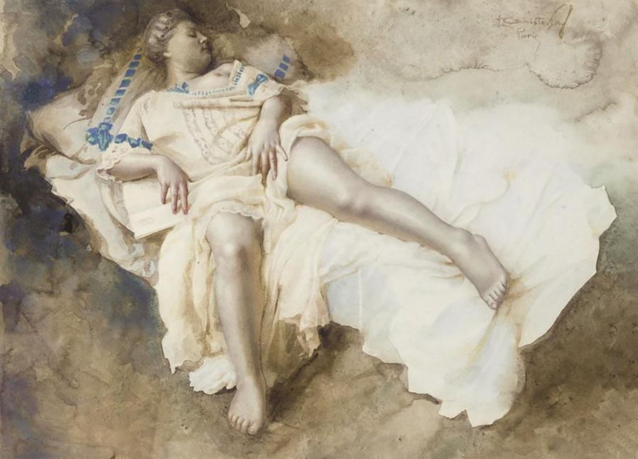 "Лев Чистовский (Lev Tchistovsky) ""A reclining model in a cream dress with blue trim"""
