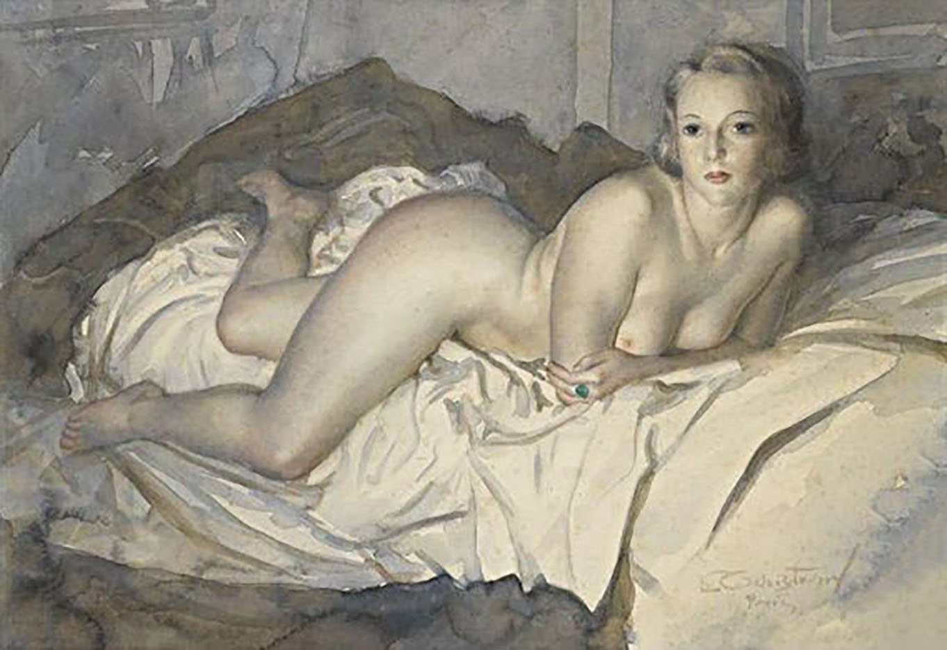 "Лев Чистовский (Lev Tchistovsky) ""Lying nude with a green ring"""