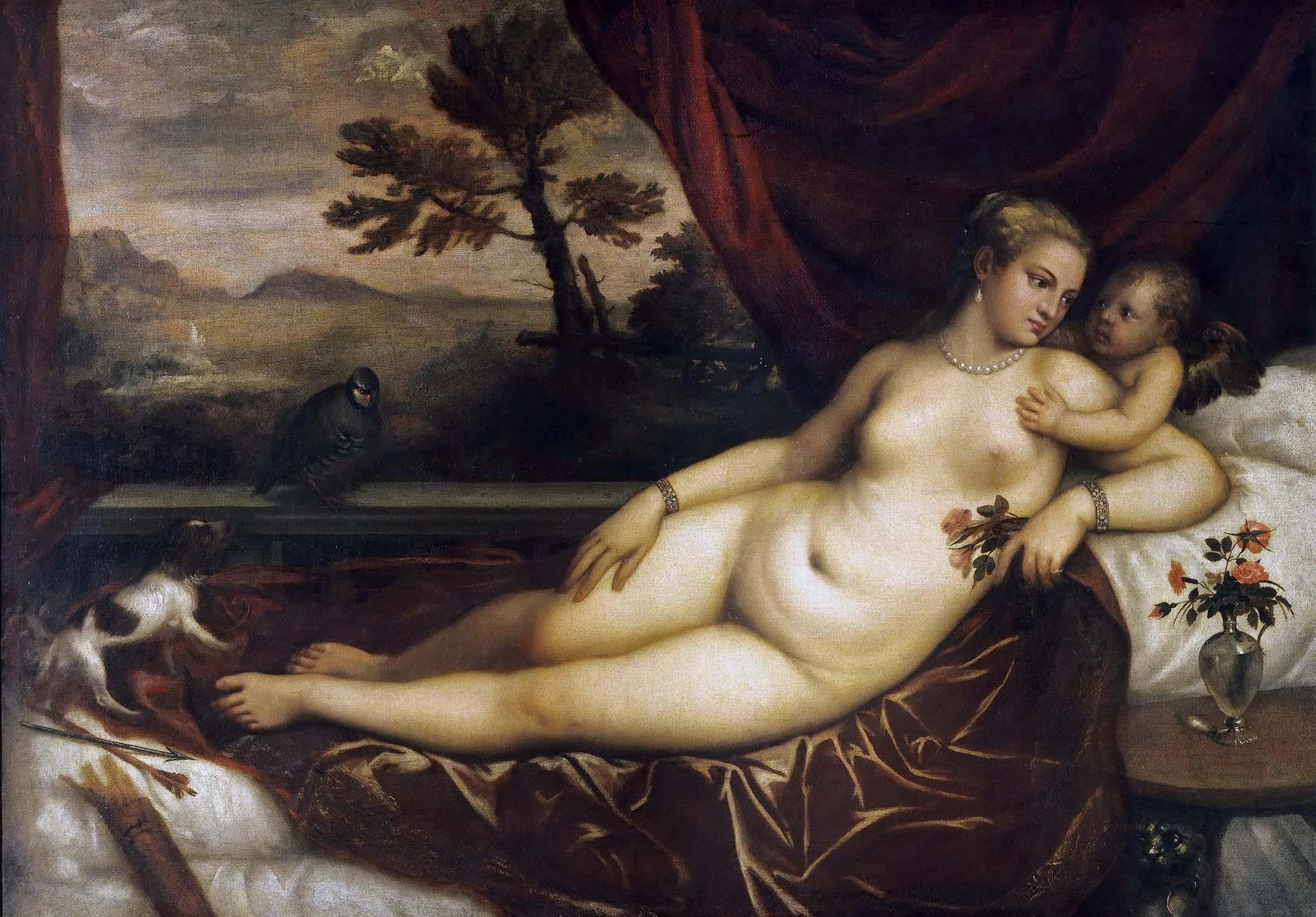 Тициан Вечеллио (Tiziano Vecellio), Венера с Купидоном, собачкой и куропаткой