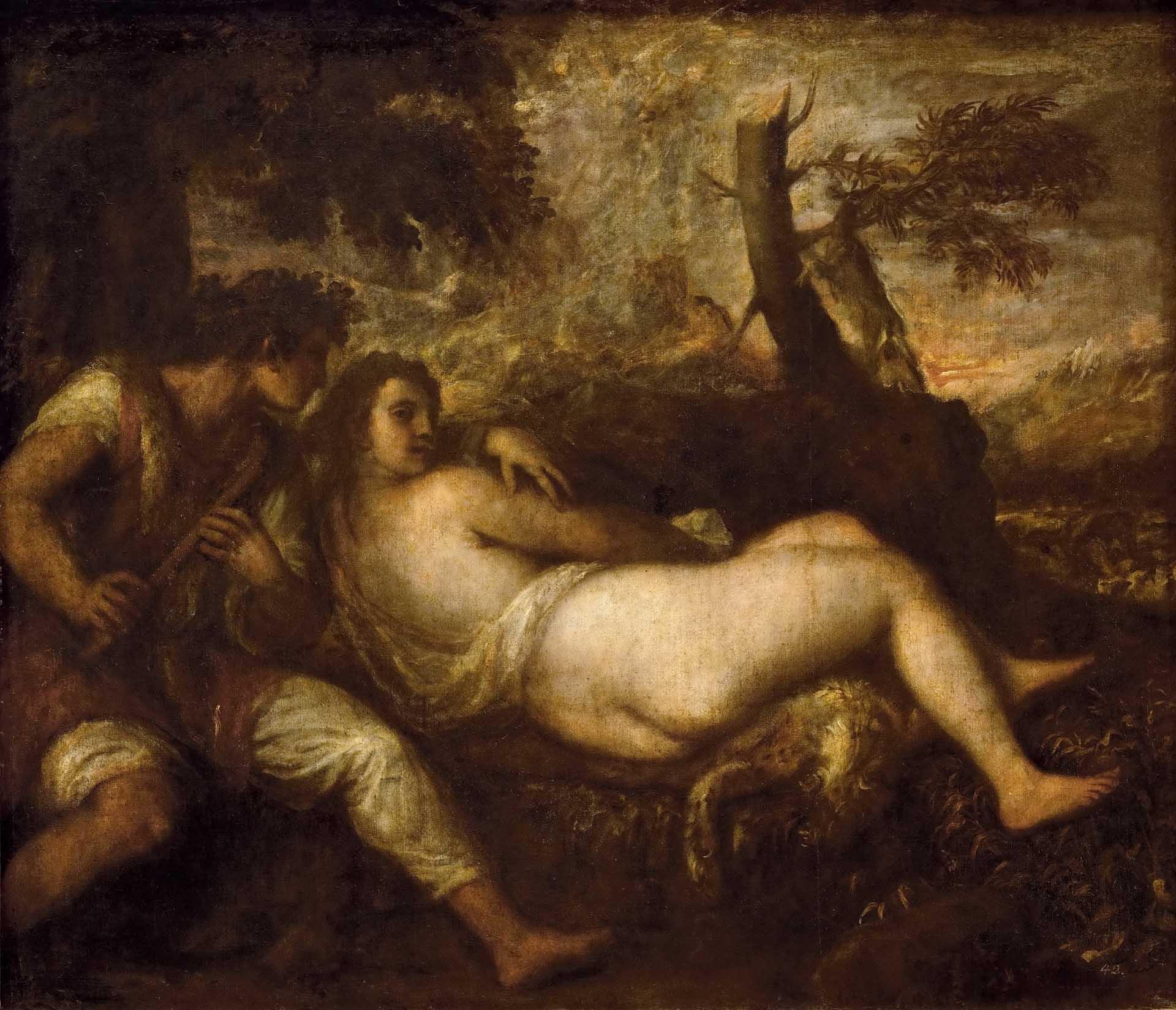 Тициан Вечеллио (Tiziano Vecellio), Нимфа и пастух