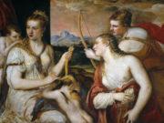 Тициан Вечеллио (Tiziano Vecellio), Венера, завязывающая глаза Амуру