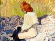 """Анри де Тулуз-Лотрек (Henri de Toulouse-Lautrec), """"Рыжая женщина сидит на диване"""""""