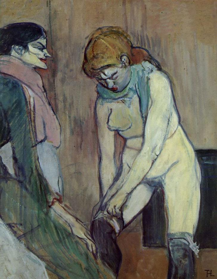 "Анри де Тулуз-Лотрек (Henri de Toulouse-Lautrec), ""Woman Pulling Up Her Stocking"""