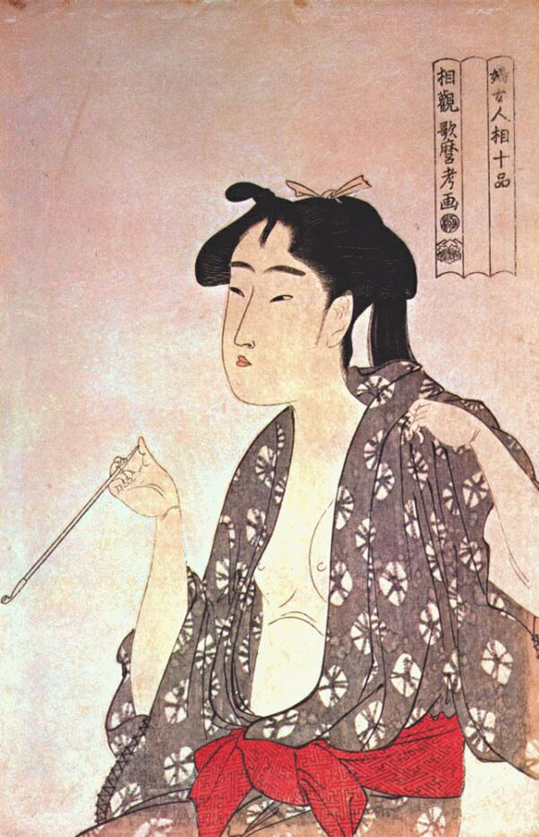 "Китагава Утамаро (Kitagawa Utamaro) ""Smoking Woman"""