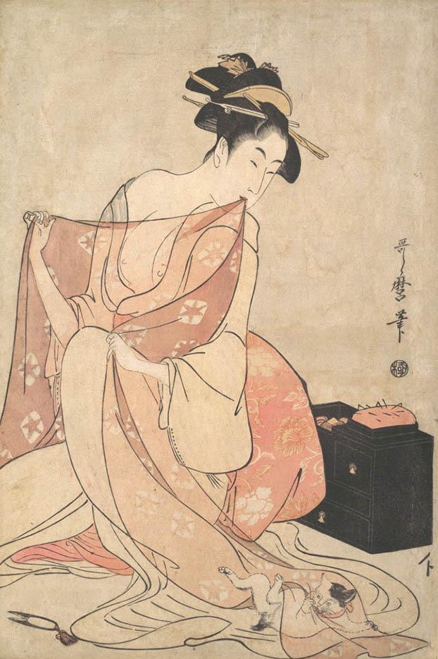 "Китагава Утамаро (Kitagawa Utamaro) ""Woman and Cat"""