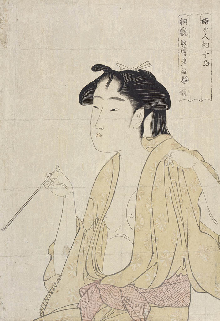 "Китагава Утамаро (Kitagawa Utamaro) ""Beauty Smoking a Pipe after Bathing"""