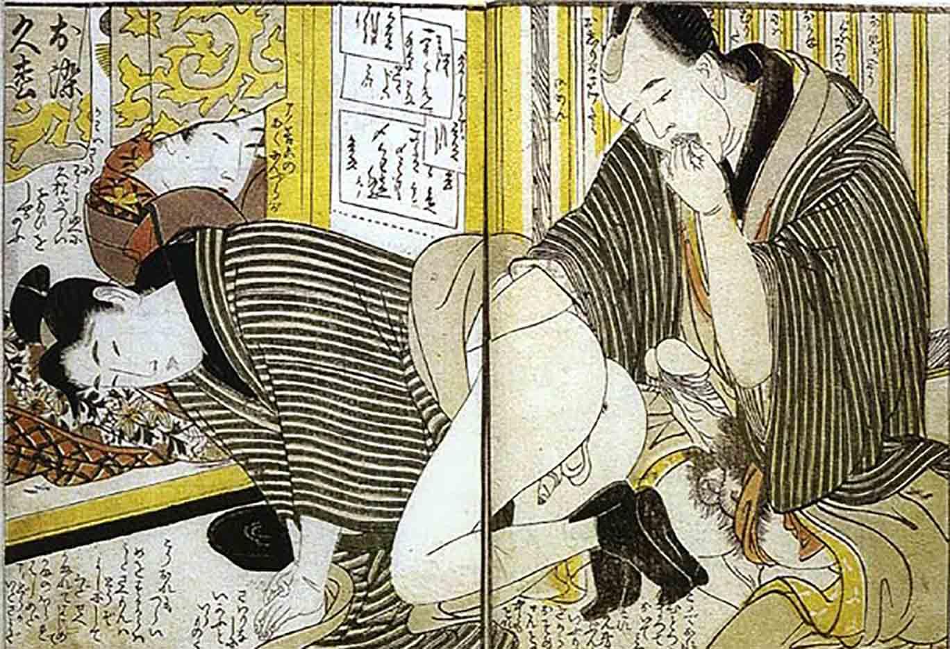 "Китагава Утамаро (Kitagawa Utamaro) ""Client Lubricating a Prostitute"""