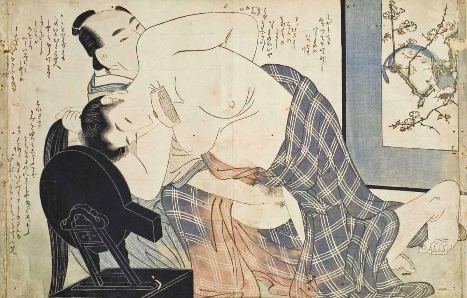 """Китагава Утамаро (Kitagawa Utamaro) """"Oban, yoko-e. Blatt aus dem erotischen Album Ehon Komachibiki"""""""