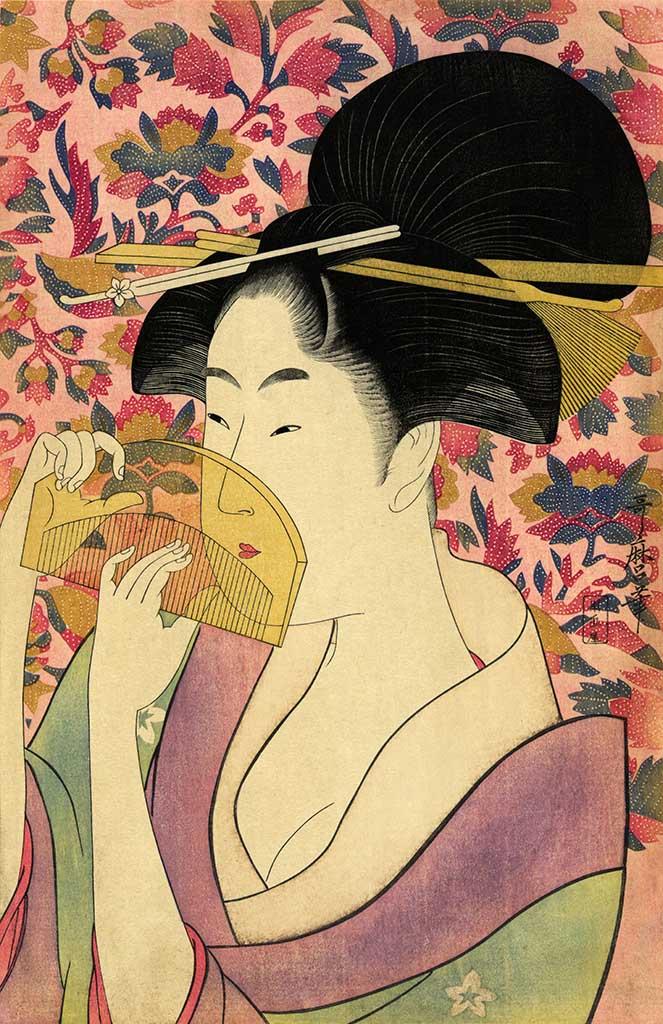 "Китагава Утамаро (Kitagawa Utamaro) ""A woodcut entitled Kushi (Comb)"""