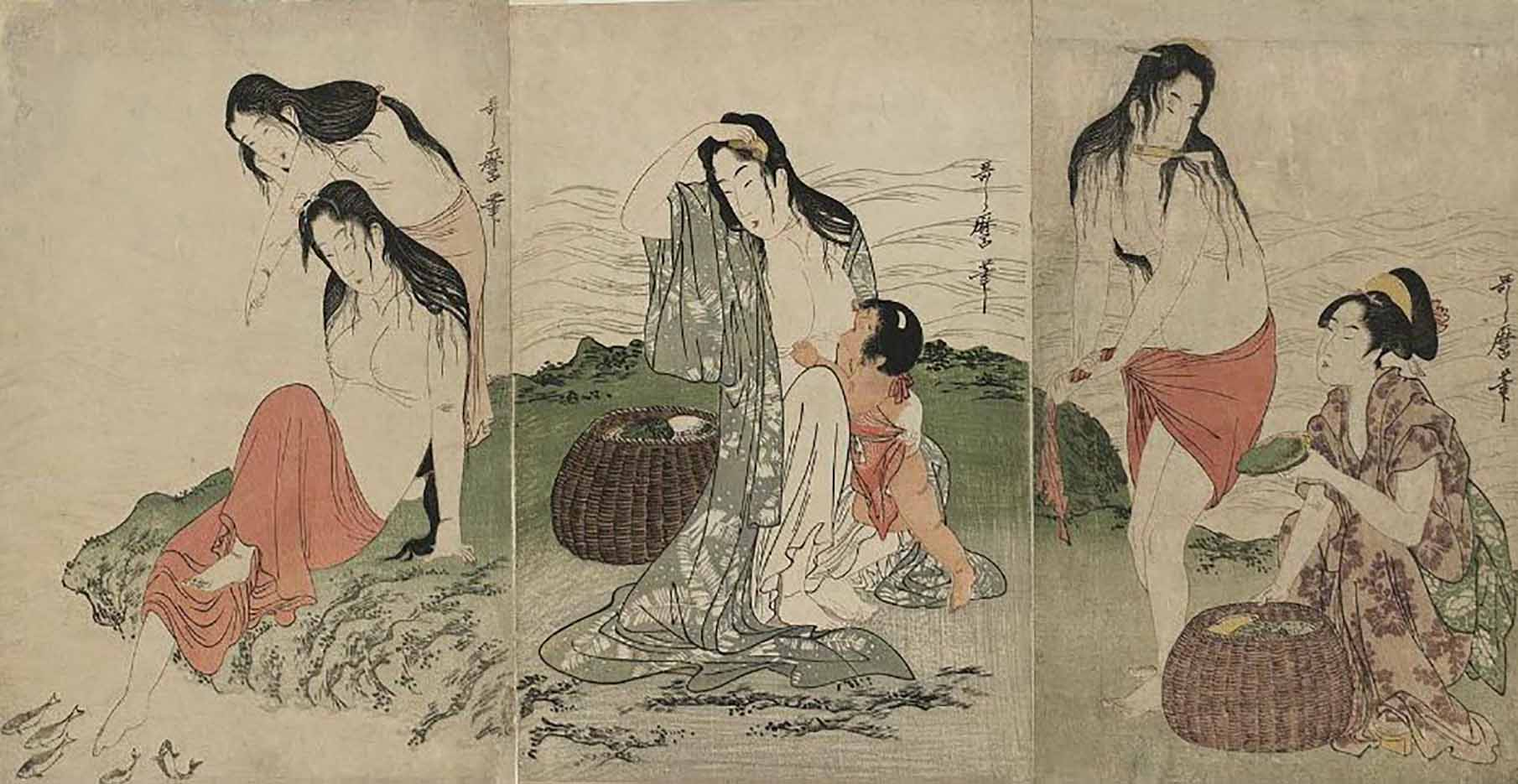 "Китагава Утамаро (Kitagawa Utamaro) ""Abalone Divers"""