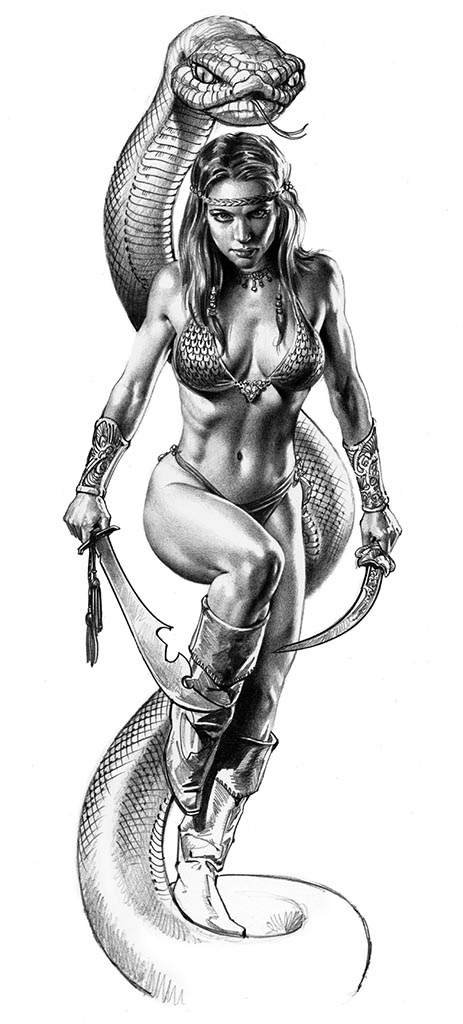 "Борис Вальехо (Boris Vallejo) ""Snake Queen"" (Drawing)"
