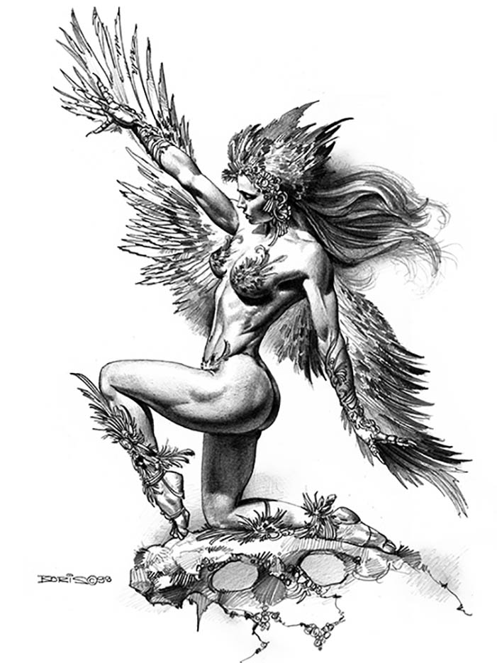 "Борис Вальехо (Boris Vallejo) ""Bird Woman"" (Drawing)"