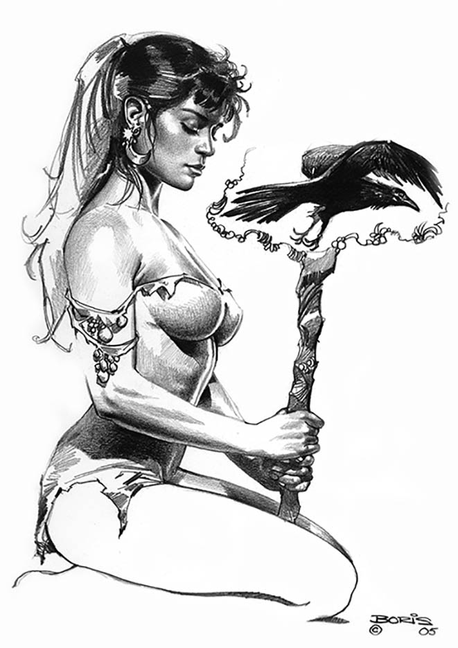 "Борис Вальехо (Boris Vallejo) ""The Sorceress Bird"" (Drawing)"