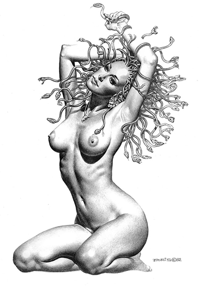 "Борис Вальехо (Boris Vallejo) ""Kneeling Medusa"" (Drawing)"