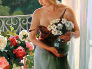 "Владимир Волегов (Vladimir Volegov) ""Girl with flowers"""