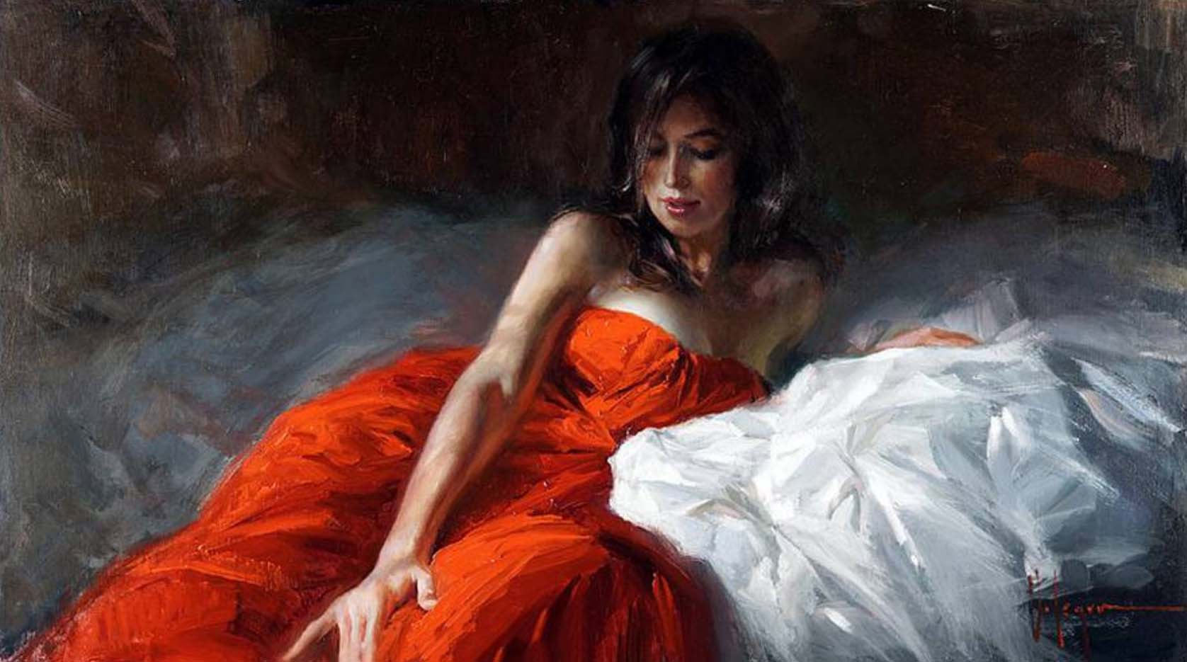 "Владимир Волегов (Vladimir Volegov) ""In red on the bed"""
