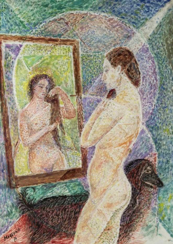 "Мария Воробьёва-Стебельская (Маревна) - Marie Vorobieff (Marevna) ""Обнажённая перед зеркалом | Naked in front of the mirror"""