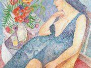 """Мария Воробьёва-Стебельская (Маревна) - Marie Vorobieff (Marevna) """"Marika with a bouquet of flowers"""""""