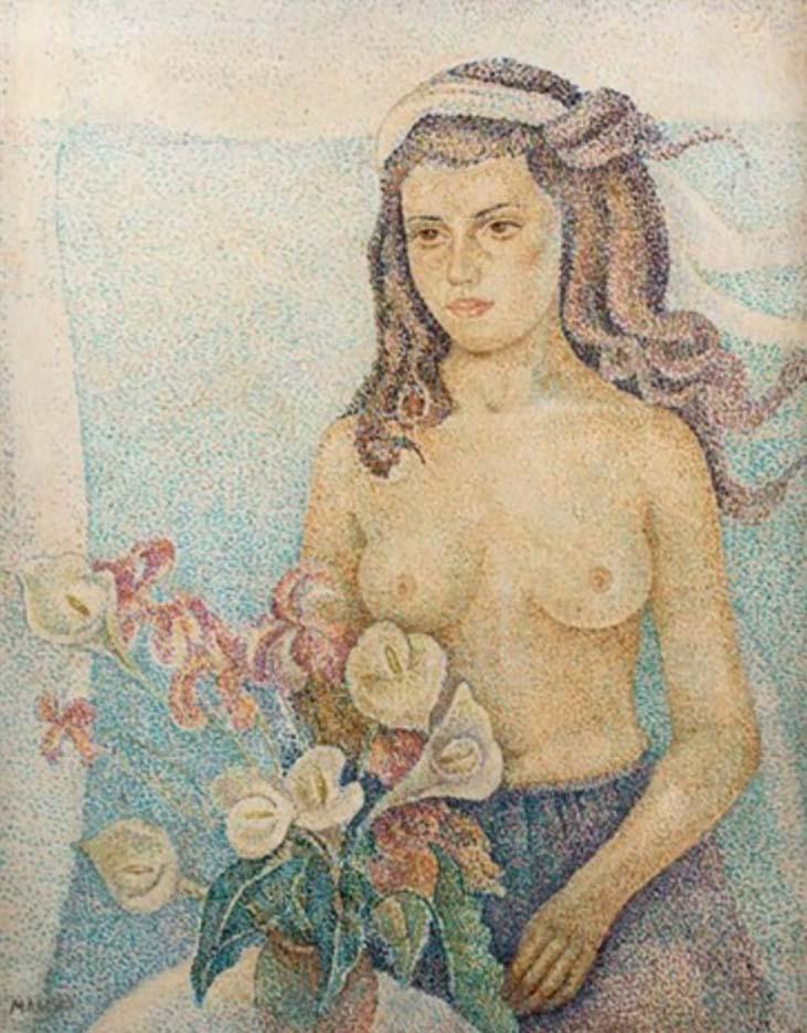 "Мария Воробьёва-Стебельская (Маревна) - Marie Vorobieff (Marevna) ""Portrait de jeune fille au bouquet de fleurs"""