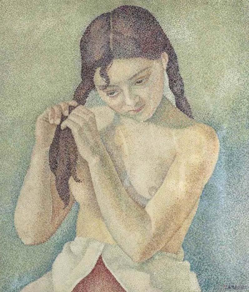 "Мария Воробьёва-Стебельская (Маревна) - Marie Vorobieff (Marevna) ""Young girl plaiting her hair"""