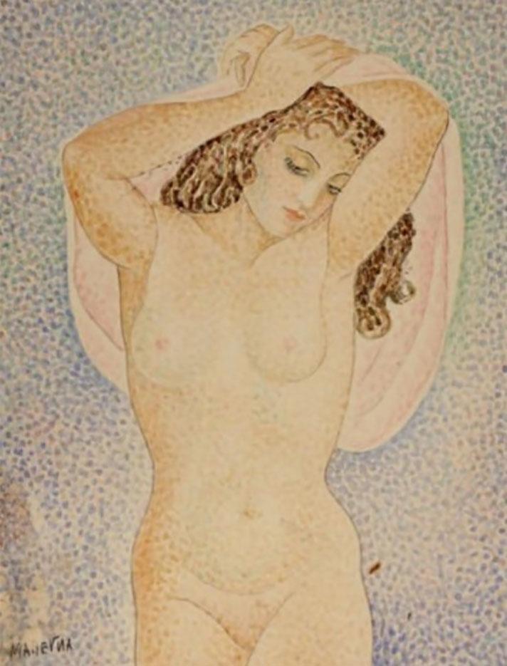 "Мария Воробьёва-Стебельская (Маревна) - Marie Vorobieff (Marevna) ""Femme nue aux bras levés"""