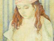 """Мария Воробьёва-Стебельская (Маревна) - Marie Vorobieff (Marevna) """"Adolescence (portrait of a young girl)"""""""