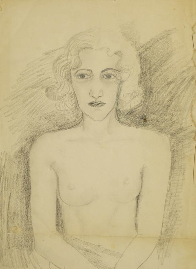 "Мария Воробьёва-Стебельская (Маревна) - Marie Vorobieff (Marevna) ""Portrait of a seated nude (recto), and Woman in a hat (verso)"""