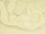 "Мария Воробьёва-Стебельская (Маревна) - Marie Vorobieff (Marevna) ""Reclining nude (verso), a church (recto)"""
