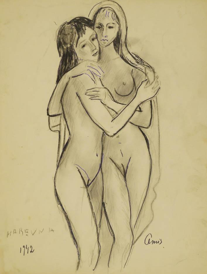 "Мария Воробьёва-Стебельская (Маревна) - Marie Vorobieff (Marevna) ""Two female nudes embracing"""