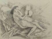 """Мария Воробьёва-Стебельская (Маревна) - Marie Vorobieff (Marevna) """"Anna de Bacher, reclining nude, Roma"""""""